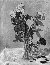 stilleben - zwei vasen mit rosen by ernst pickardt