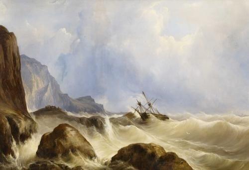 schiffbruch vor felsiger küste by andreas achenbach