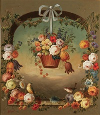 flower basket in arch with birds by jeannine albert