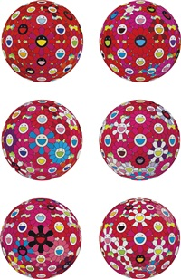 red ball and other (six works) by takashi murakami