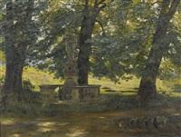 sommerlicher park mit barocker heiligenstatue by leo reiffenstein