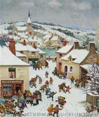 untitled, winter village scene by paul lemasson