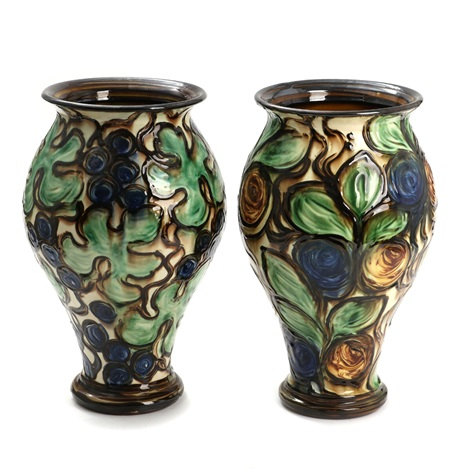 Two Earthenware Vases Decorated With Blue And Greenish Glaze On