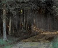 dunkler waldweg mit einfliessendem sonnenlicht by charles-louis rivier