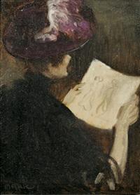 rückenansicht einer dame mit hut, eine zeichnung betrachtend by lajos márk