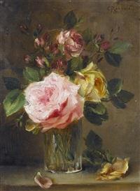 stillleben mit rosen in einem becherglas by camille renard