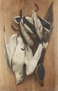 ein erlegter hase und eine wachtel hängen kopfüber an einem nagel (+ zwei erlegte vögel hängen kopfüber an einem nagel; pair) by arsène symphorien sauvage
