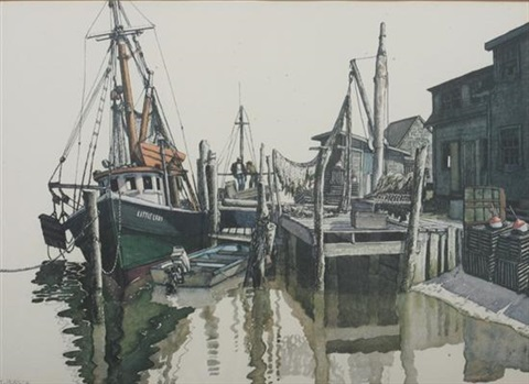 fishing boats at dock by billy morrow jackson