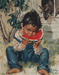 gutt med melon by charles roka
