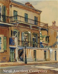 french quarter street scene (+ another; pair) by w. stuart archibald