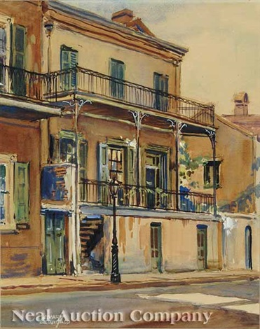 french quarter street scene another pair by w stuart archibald