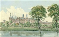 luxmore's garden with the cloisters behind, eton college by thomas percy