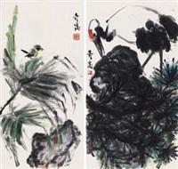 花荫鸟语 (两帧) (2 works) by xu qigao
