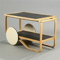 trolley with birch frame by alvar aalto