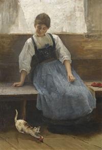 sitzende trachtenfrau mit kätzchen by caspar ritter