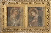 medieval portrait of a saint, with raised hand in a blessing facing right, and its companion, saint with hand on chest facing left (2 works in 1 framec) by continental school (19)