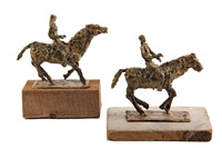 male rider on horse; female rider on horse (pair) by abbott pattison