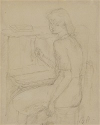 jeune fille au piano by rené (victor) auberjonois