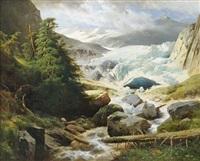 winterlandschaft (in der pasterze am fuße des großglockners?) by leopold heinrich vöscher