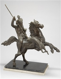 spear-wielding warrior on horseback by tommaso campaiola