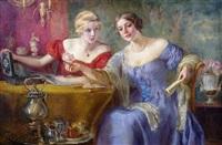 zwei elegante damen am salontisch by otolia kraszewska