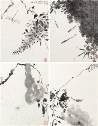 花鸟 (四帧) (4 works) by xia hui