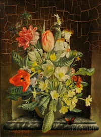 mixed spring flowers in vase by franz leitgeb