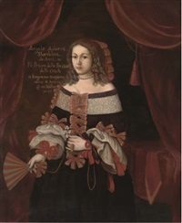 portrait of angela adorni shardelini (+ portrait of a lady in a black dress; 2 works) by j. adams