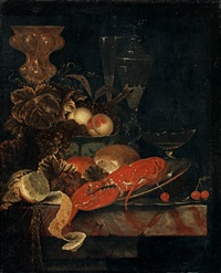 still life with a lobster and fruits by ottmar elliger the elder