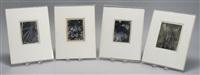 wagon wheel; birch trees; flowers (4 works) by consuelo kanaga