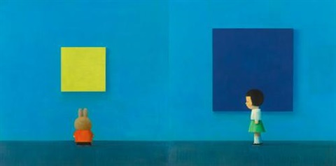 international blue diptych by liu ye