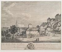 vue de la ville de pirne devant la porte nommée oberthor avec la forteresse sonnestein by bernardo bellotto