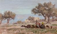 weidelandschaft in palästina mit schafherde und altem gehöft zwischen bäumen by georg macco