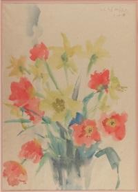 osterglocken und tulpen in kelchförmiger vase by hans andré ficus