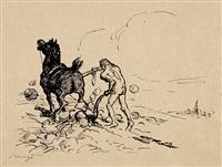 rübezahl pflügt den boden. vorzeichnung zur ersten legende des märchen von rübezahl von j. a. musäus by max slevogt