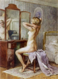 weiblicher akt in schlafzimmerinterieur by heinrich rettig