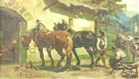 zwei pferde vor einer hufschmiede by louis (ludwig) braun