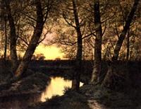 flußuferlandschaft am waldrand bei sonnenuntergang by nicolas rousseau