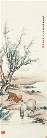 双骏图 horses by ma jin