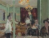 recto: im restaurant; verso: frauenkopf by rudolf zender