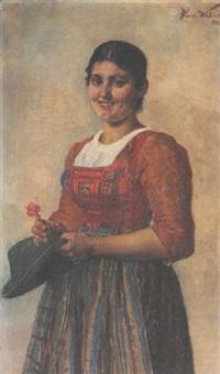 bayerisches bauernmädchen in tracht by heinrich a. weber