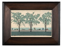 an exterior scene showing a waterfront promenade lined by trees and benches, possibly along lake michigan in chicago by elizabeth colwell