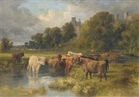 cattle grazing near the river wye, haddon hall beyond by walter henry pigott