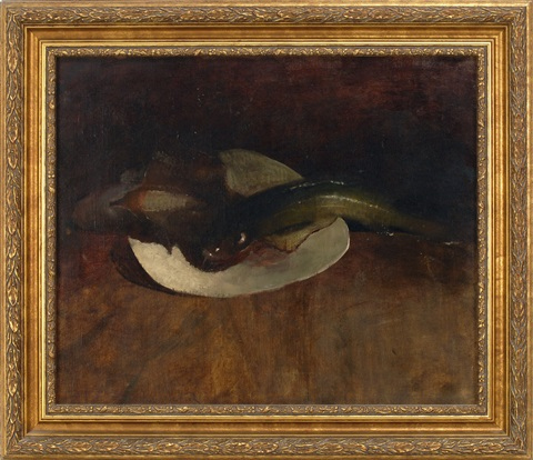 still life of fish in a dish by william merritt chase