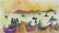 fischer bei ihren booten am strand by christian kruck