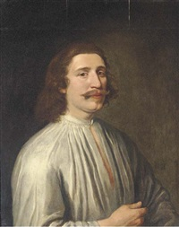 portrait of a gentleman (the son of joseph hall, bishop of exeter?) in a white shirt by anglo-dutch school (17)