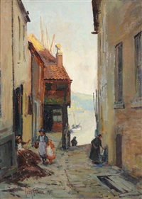 figures in an alleyway at staithes with fishing boats in the harbor by owen bowen
