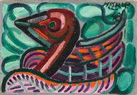 composition with red bird by henry heerup
