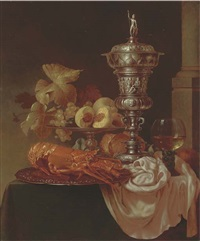 lobster, peaches, grapes and oranges on a silver platter, with a roemer silver cup and cover by gyula andreas bubárnik