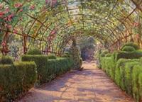 an old giudecca garden (+ a cloister garden, palermo, smllr; 2 works) by ernest arthur rowe